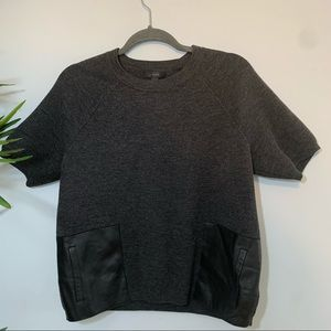 J Crew   Black Label Merino Wool Leather Pocket S